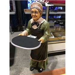 3' TALL OLD WOMAN SERVER FIGURE
