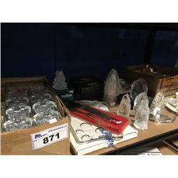SHELF LOT OF ASSORTED SWEDISH CRYSTAL/GLASS CANDLE HOLDERS/ CHINA ETC.