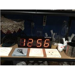 SHELF LOT OF ASSORTED DECORATIVE PIECES- GLASS VASES/DIGITAL CLOCK/ STONE TILE PCS ETC