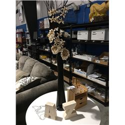 TALL LIGHTED ARTIFICIAL FLOWER WITH VASE/SMALL CRYSTAL CANDLE HOLDER & DECORATIVE LETTERS