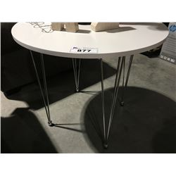 SMALL ROUND WHITE WITH CHROME LEGS TABLE