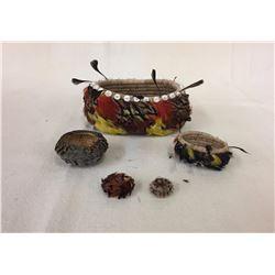 5 Pomo Feathered Baskets