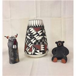 3 Native Pottery Items - Mixed