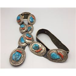 Vintage Turquoise and Coral Concho Belt