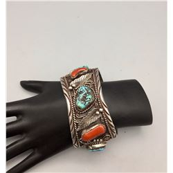 Vintage Turquoise and Coral Cuff Bracelet