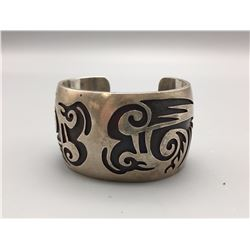 Hopi Sterling Silver Overlay Bracelet