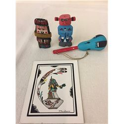 2 Rt 66 Kachinas, Rattle and Art Work