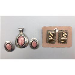 Rhodochrosite Set and Pottery Earrings