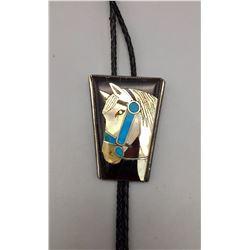 Vintage Inlay Horse Bolo
