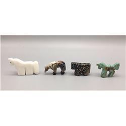Group of 4 Zuni Horse Fetishes