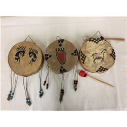 Group of 3 Painted Rawhide Drums