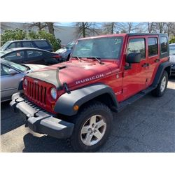 2007 JEEP WRANGLER, RED, 4DRSW, GAS, MANUAL, VIN#1J4GA69127L125952, 54,561KMS, RD,CD,PW,CC, OOP,