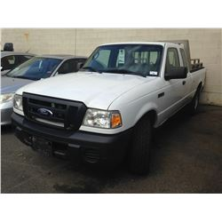 2008 FORD RANGER, WHITE, 2DR EXT CAB PU, GAS, AUTOMATIC, VIN#1FTZR45E98PA15060, 286,373KMS,