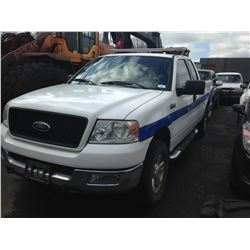 2004 FORD F150, 2DR EXT CAB, WHITE, GAS, AUTOMATIC, VIN#1FTPX14534NB76765, 260,300KMS,