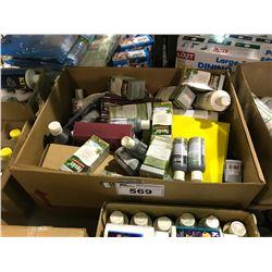BOX OF AQUARIUM TREATMENT PRODUCTS