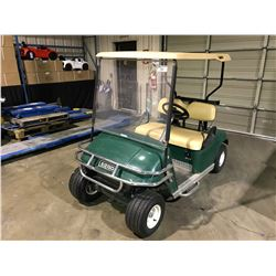TEXTRON E-Z-GO GREEN GAS POWERED 2 SEATER GOLF CART WITH WINDSHIELD, ROOF COVER, BALL WASHER,