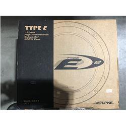 "ALPINE TYPE E 12"" HIGH PERFORMANCE SUBWOOFER 600W PEAK"