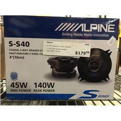 ALPINE S-S40 COAXIAL 2-WAY SPEAKER SYSTEM