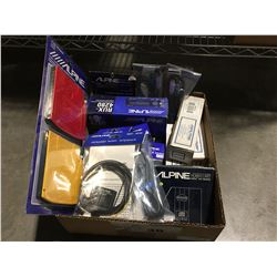 BOX OF ASSORTED ALPINE CAR AUDIO ELECTRONIC ACCESSORIES
