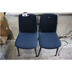 PAIR OF MODERN BLUE FABRIC DINING CHAIRS