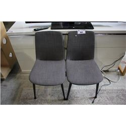 PAIR OF MODERN GREY FABRIC DINING CHAIRS