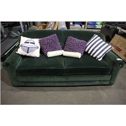 GREEN FABRIC SOFA WITH ASSORTMENT OF THROW PILLOWS