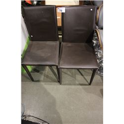 PAIR OF BROWN PADDED DINING CHAIRS