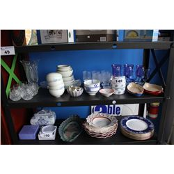 SHELF LOT INCLUDING CRYSTALWARE, FLORAL PLATE SET AND MORE DISHWARE