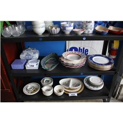 SHELF LOT INCLUDING ASSORTED CHARGER PLATES, VILLEROY & BOCH CHRISTMAS WARE, AND MORE