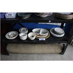 SHELF LOT INCLUDING PORTMEIRION COLLECTOR'S DISH SETS, CHARGER PLATES AND MORE