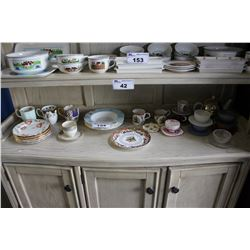 SHELF LOT OF ASSORTED CHINA INCLUDING ROYAL ALBERT, ROYAL WORCESTER, IITTALA AND MORE