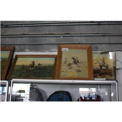 TWO FRAMED AND ONE UNFRAMED WESTERN PRINT