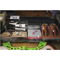 LOT INCLUDING MILITARY MACHETE, GERBER LEATHERMAN, ASSORTED HUNTING KNIVES AND MORE!