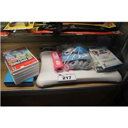 BLUE WII CONSOLE, ASSORTMENT OF GAMES INCLUDING SUPER MARIO BROS, WII FIT WITH ACCESSORIES,