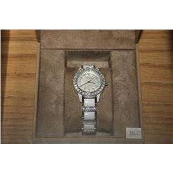 WHITE FOSSIL WATCH IN BURBERRY CASE