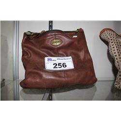 BROWN FOSSIL HIP BAG