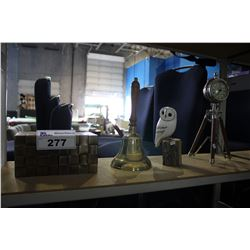 HAND BELL, PAIR OF BOOKENDS, COLLECTABLE TRIPOD CLOCK, AND OWL FIGURE