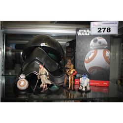 STAR WARS COLLECTABLES INCLUDING FIGURES, STORM TROOPER MASK AND BB8 APP-ENABLED DROID