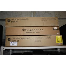 2 GE AND 1 FRIGIDAIRE MICROWAVE TRIM KITS