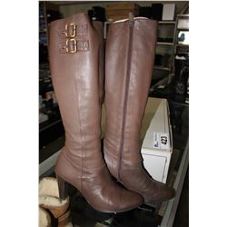 BROWN TANDY HEELED CALF BOOTS - SIZE 7