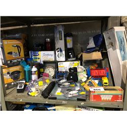 SHELF INCLUDING DR. SCHOLL'S FOOT WARMER, PORT-A-VAC, FITNESS BALL, EVERLAST GLOVES, AND MORE