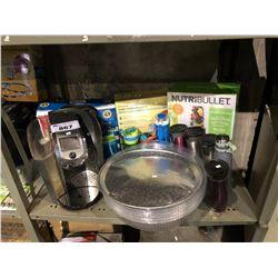 SHELF INCLUDING NUTRIBULLET, COLOR-CHANGING LED LIGHT STRIP, KEURIG COFFEE MACHINE, COMPLETE HAIR