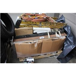 PALLET OF STRAPS, ROPES, POWER CORDS, LADDER AND MORE