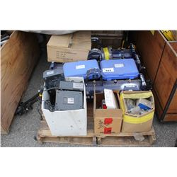 PALLET OF WELDING GAS MANIFOLDS, MAKITA CHARGERS, PRESSURE GAUGES AND MORE