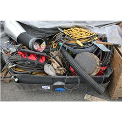 PALLET OF ASSORTED POWER CORDS, HOSE AND MORE