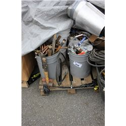 PALLET OF ASSORTED TOOLS, VALVES, PIPING AND MORE