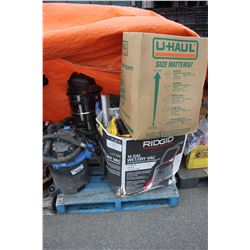 PALLET OF SHOP VACS AND MORE