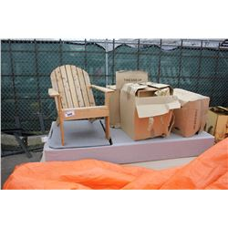 PALLET OF BED PARTS AND WOODEN CHAIR