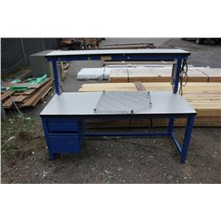 BLUE METAL AND WOOD WORK BENCH