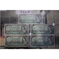 5 CONSECUTIVE CANADIAN $1 BILLS